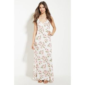 FLORAL LACE UP MAXI DRESS